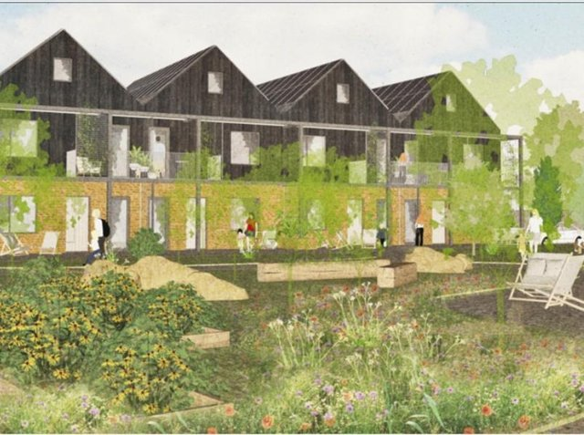 Artist's impression of the affordable, sustainable, community housingproject in Hook Norton that recently received planning permission