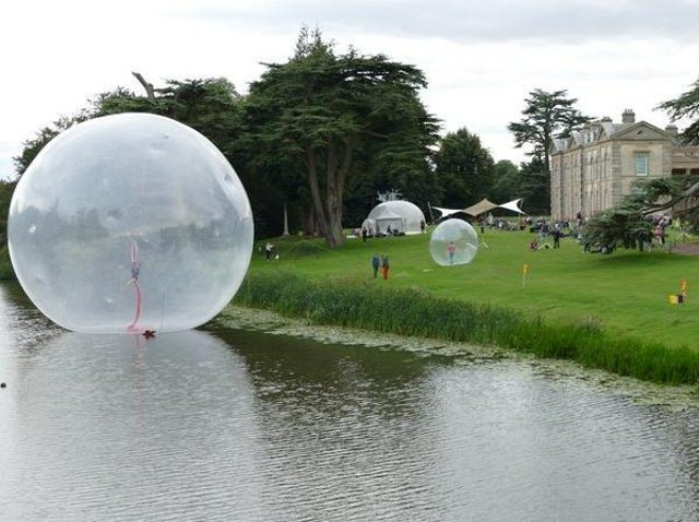 'Music of the Spheres – Story of Water' on the grounds of Compton Verney held on Sunday August 23 involving music, dance and huge orbs on water. (photo by Kineton resident David Beaumont)