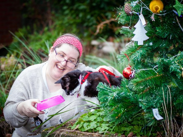 Katie Harrison and her foster cat Brandy from the BARKS charity