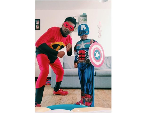 Prabhu Natarajan and his son, Addhu, plan to dress as Mr Incredible and Captain America respectively as they give away 18 packets of food and gifts for local children on the 18th, the same day as his son's sixth birthday.