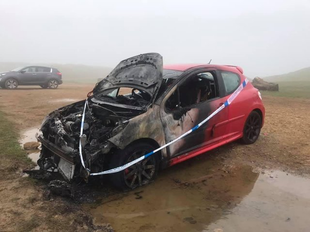 Photo of the burned car at Burton Dassett Hills Country Park (photo taken by Mandy Dee yesterday, Monday March 1)