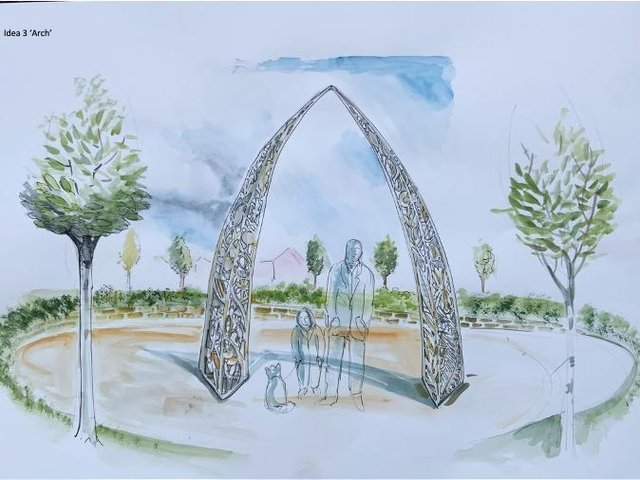Arch - Influenced by consultation with the schools: William Morris Primary School, Orchard Fields Community Primary School and N.O.A.  (photo from the Banbury Rise Public Art Facebook page)