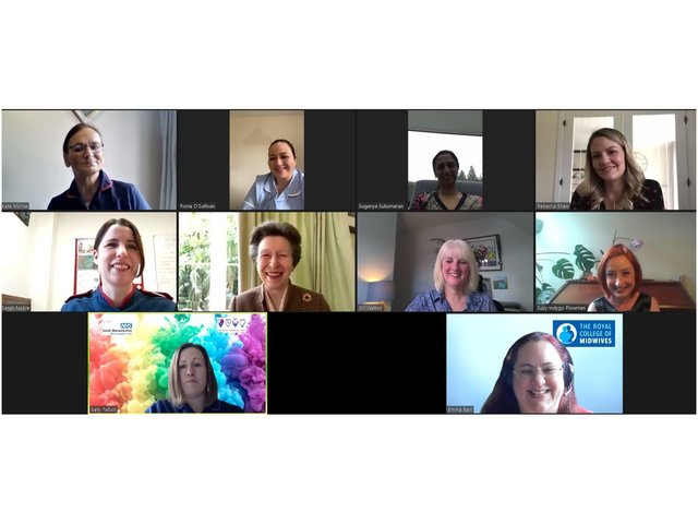 The Trust's Maternity team were invited to a private virtual event with Her Royal Highness The Princess Royal, Patron of The Royal College of Midwives. Photo supplied