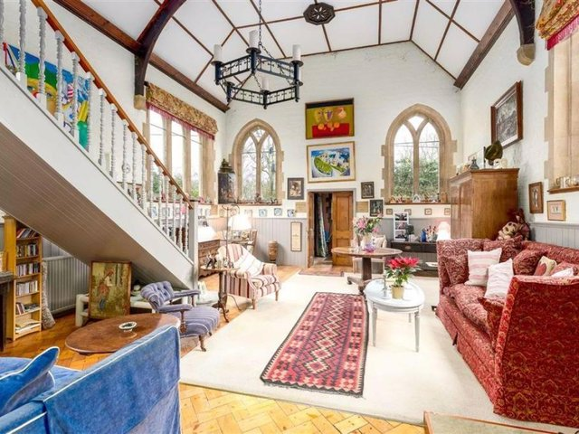 This Mill Lane Chapel conversion, which boasts 32-foot high ceiling in its gallery of a living room is now on the market in Lower Heyford