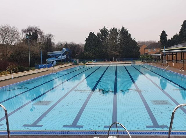 The outdoor swimming pool at Banbury's Woodgreen Leisure centre will open early this year for 'chilly water swimming.' (photo from the Woodgreen Leisure Centre Facebook page)