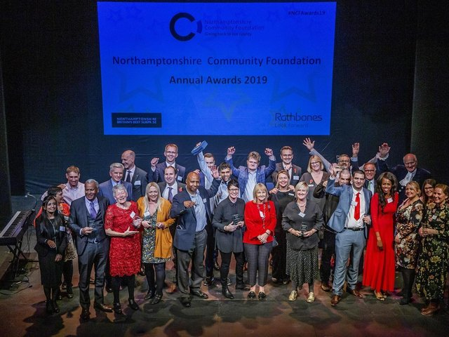 Winners at Northamptonshire Community Foundation's annual awards ceremony in 2019
