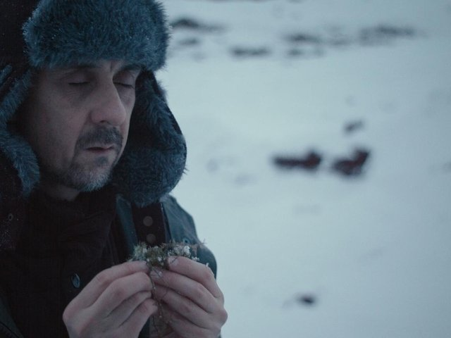Tim Plester on set in the frozen landscape of Iceland