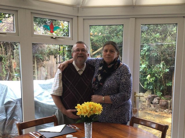 Martin and Lesley Kipling inside their conservatory. Photo supplied