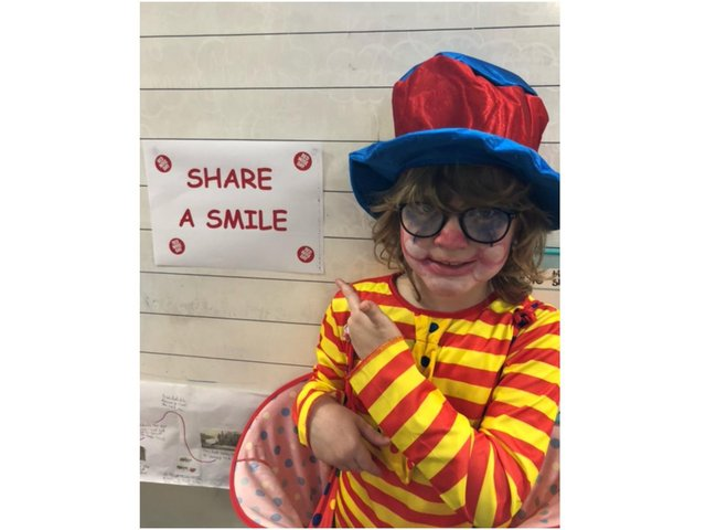 Jasper from class 3 at Bishop Carpenter Primary School brought smiles with his clown costume for Red Nose Day to benefit Comic Relief (photo from Bishop Carpenter Primary)