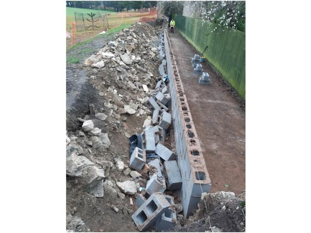South Northamptonshire Police are investigating the damages caused by vandals to a wall at Brackley Town Park. (Image from Brackley Town Council)