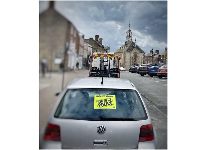 Vehicle seized by police in Brackley town centre (Image from South Northants Police Tweet)