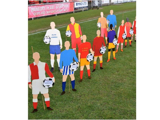 Series of 2-D cutouts of footballers wearing historic kits help Banbury United Football Club mark its 90th anniversary this year - made by Roger Davis, one of club's ground staff volunteers