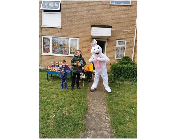 Banbury resident, Tracy Hextall, and her two children, William Hextall aged 9 and Matthew Hextall aged 3, enjoyed a visit with the Easter Bunny, also known as Prabhu Natarajan, who was giving away chocolates to children and their families.