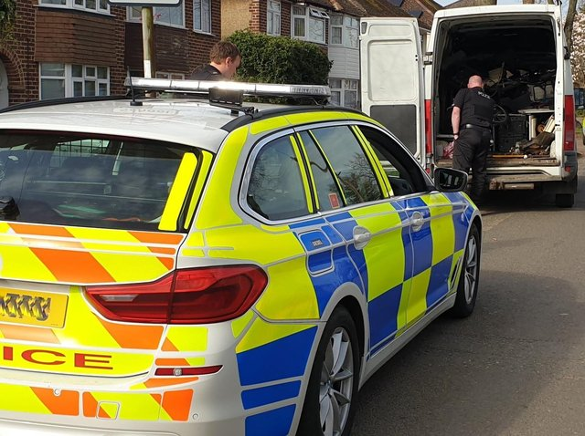 Image of police working with community safety officers to seize a vehicle in Banbury (Image from the Cherwell District Council Community Safety Team Facebook page)