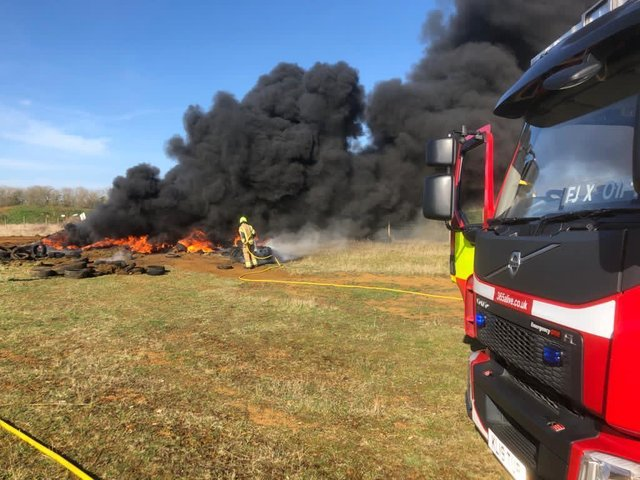 Two fire engines from the Banbury Fire Station responded to a fire near Alkerton on Easter Sunday (Image from Oxfordshire Fire & Rescue Service Facebook page)