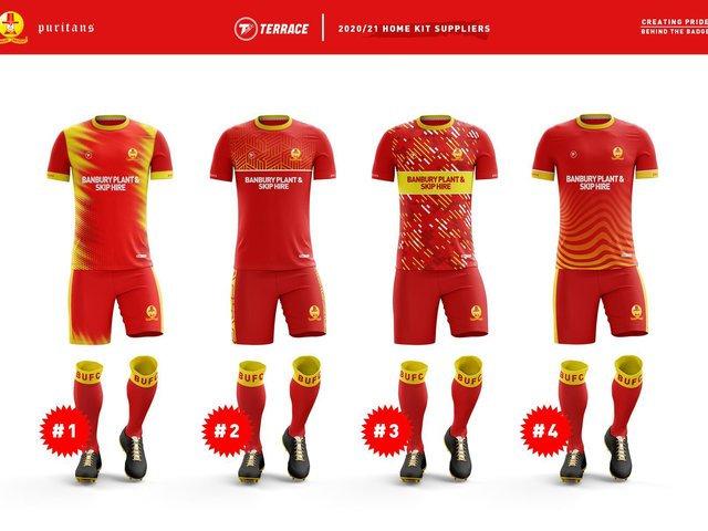 The voting options for Banbury United's new home kit
