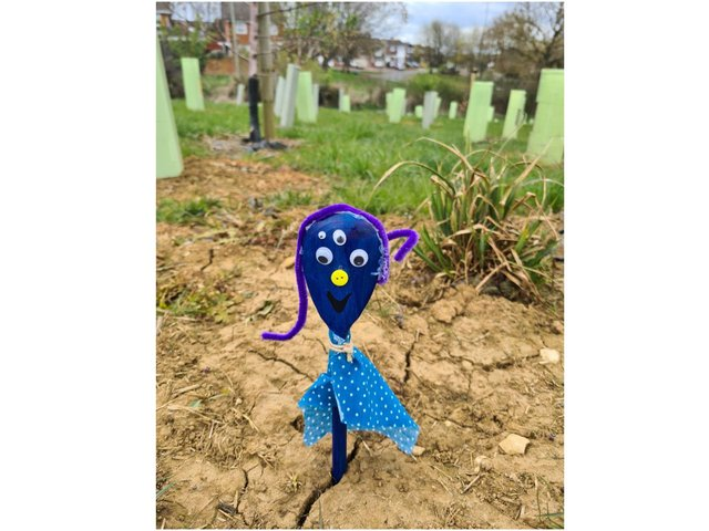 Katie Leonard smiled as she spotted the decorated spoons along the path just down from the sports field in Longford Park near the Bankside Road.