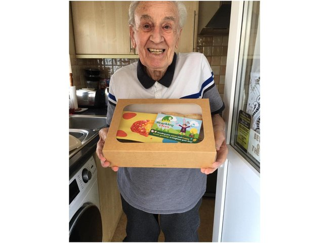 Les smiled as he received his 'Easter Feast' from the Brackley Elves community group over the Easter holiday