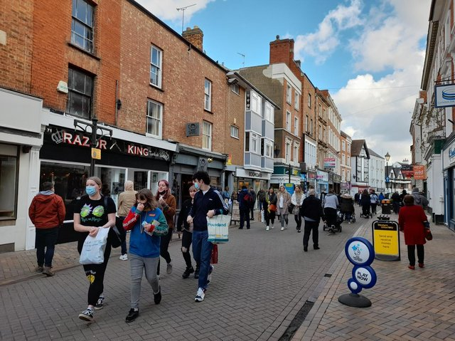 People flocked to the town centre of Banbury to barbershops, salons and local shops on reopening day Monday April 12