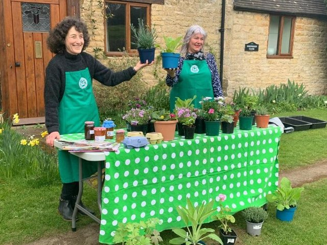 Sue Rew and Sarah Franklin sell plants, jams, chutneys and other preserves in aid of Shipston Home Nursing
