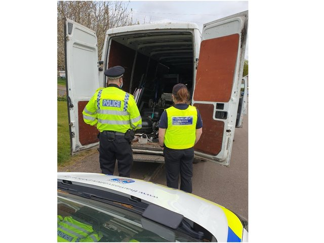 TVP officers and the Cherwell Community Safety Team spotted and seized a vehicle in connection to illegal scrap metal collecting near the Broughton Road area of Banbury (Image from the Cherwell Community Safety Team's Facebook page)