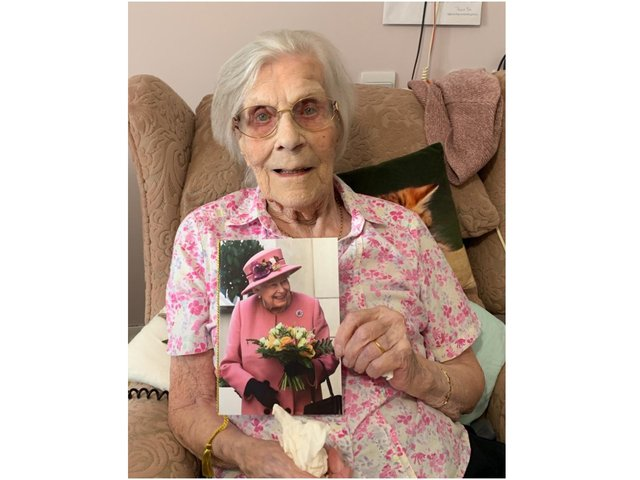 Edith Adelaide Carter, a resident at Care UK's Highmarket House, received a card from the Queen to mark her 100th birthday on April 7 (Image from Highmarket House)