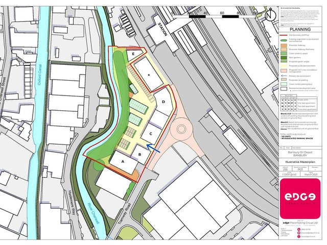 Drawing of plans for the redevelopment of the Banbury Oil Depot into 143 apartments (Image from the planning application submitted to Cherwell District Council)