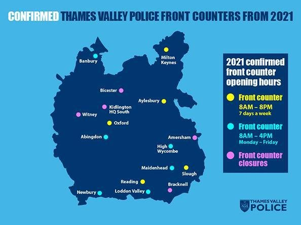 The front counter provision for three police stations across Oxfordshire are set to close, including one in nearby Bicester. (Image from TVP website)