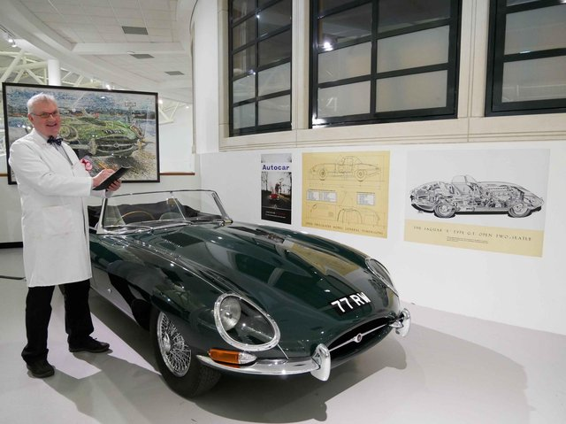 May half-term at the British Motor Museum - Dougie and the E-Type. Photo supplied by the British Motor Museum.