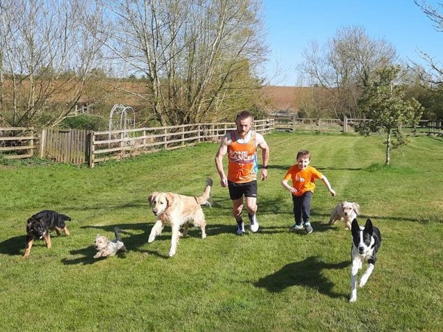 Rob Duffy and Freddie get some running practice in with the families' pets