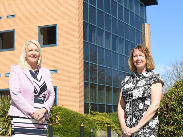Justine Chadwick from the CWLEP Growth Hub (left) with Eva Harrison from Career Seekers Direct. Photo supplied