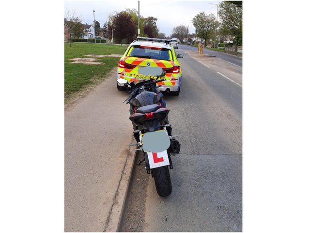 Officers with the TVP Roads Policing Unit seized a motorcycle after it was stopped in Bloxham Road, Banbury today, Tuesday April 27. (Image from TVP Roads Policing Twitter account)