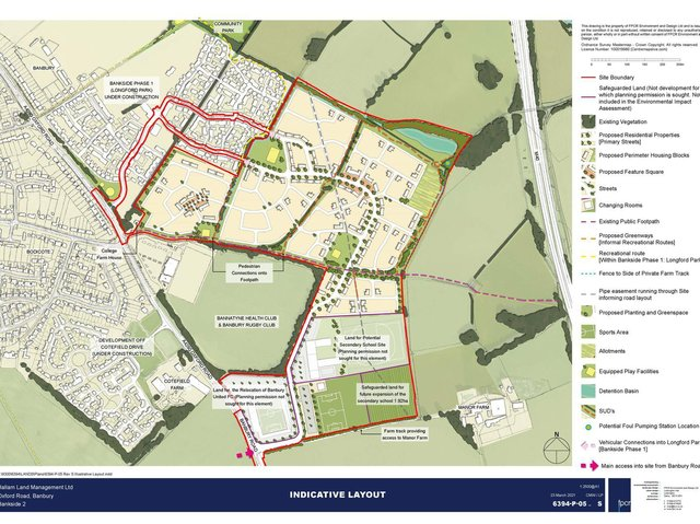 Nearly 40 people have submitted comments to a pending planning application which would bring 825 homes to the Longford Park area of Banbury. (Image from the plans submitted to Cherwell District Council)
