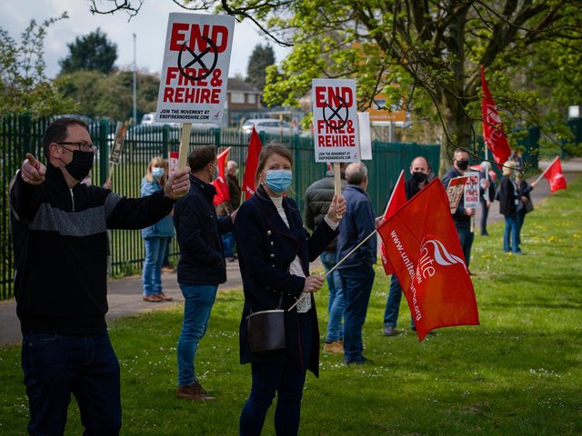 Unite the Union organised a Covid-secure demonstration outside the JDE factory. Picture by Milesimages at Milesimages.com