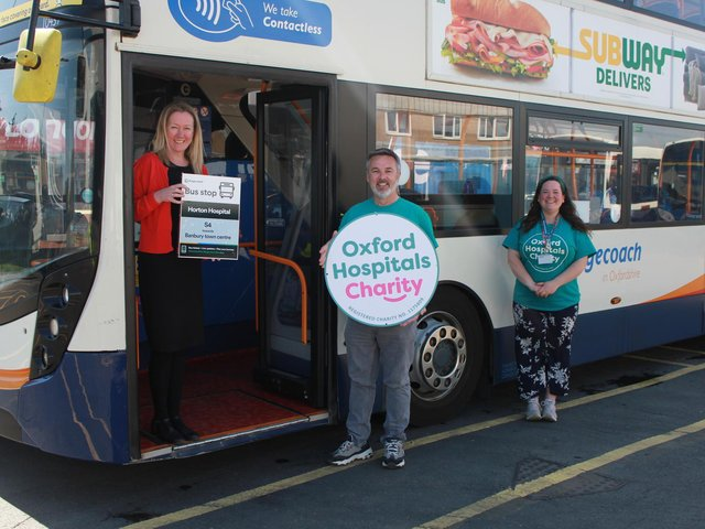 Karen Coventry of Stagecoach with Douglas Graham, CEO and Emily Waddell, Community Fundraising Manager, both of Oxford Hospitals Charity who welcome the dementia 'bus stop'