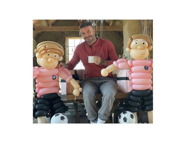 David Beckham with mini versions of himself made by Banbury balloon artist Kerry Jay Binns. (Image from Kerry Jay Binns with permission, which was shared on Victoria Beckham's Instagram page over the weekend)