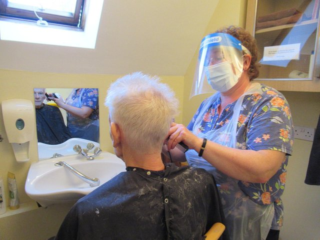 There were happy scenes at Glebefields Care Home in Banbury as hairdressers were finally allowed back into the home. (Image from Glebefields Care Home)