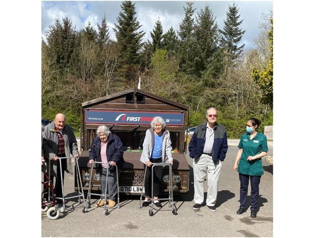On National 'Hug a Shed and take a Selfie Day' the residents of a Chipping Norton care home were overjoyed to have a visit local legend - Kevin Nicks - the creator of the 'Fastest Shed.' (Image from Southerndown Care Home)