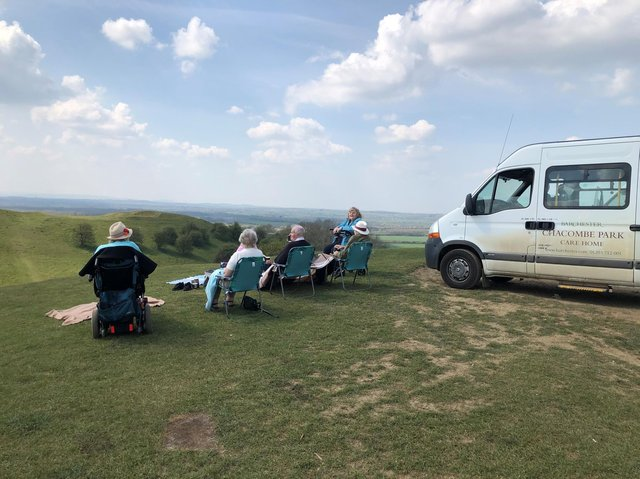 Residents from Chacombe Park Care Home enjoyed a long-awaited trip to Burton Dassett Hills Country Park (Image from Chacombe Park Care Home)