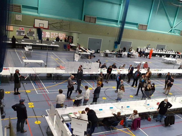 Ballots being counted at the Spiceball Leisure Centre in Banbury for Cherwell District Council (Image from Cherwell District Council Twitter account)