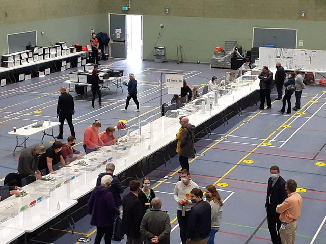 It was all-change in many of the 63 electoral divisions across Oxfordshire from the first result that came in. (Counting of the ballots at Spiceball Leisure Centre image from Cherwell District Council Twitter)