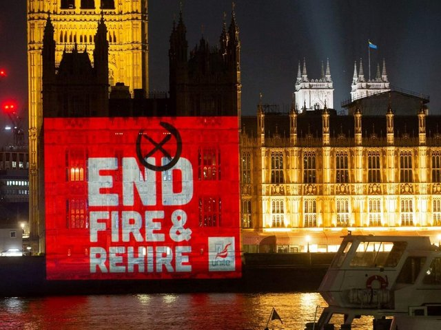 Unite the Union's End Fire and Rehire banner projected over the Houses of Parliament yesterday (Monday, May 10)