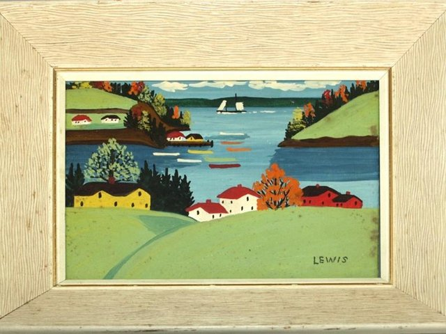 The top-selling Maud Lewis painting, lot 201, discovered in a Banbury home, sold for £10,000. (Image from Hansons)