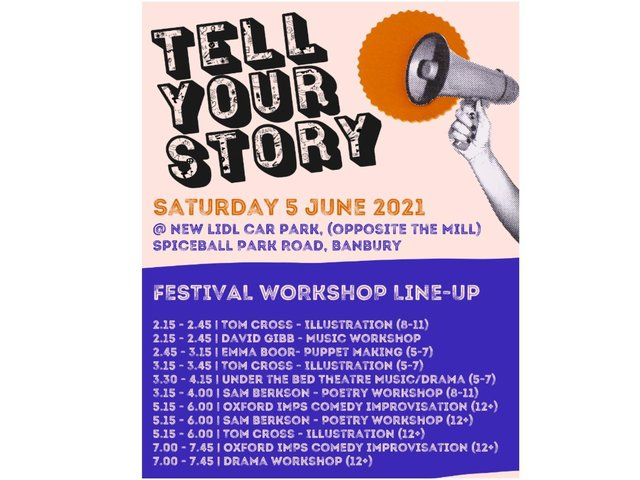 The line-up for the Tell Your Story Festival Workshop hosted by the Banbury-based Cherwell Theatre Company
