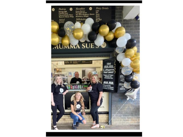 Local hairdresser, Lucy Isaac, celebrated her first anniversary today (Tuesday May 18) as proprietor of Mumma Sue's snack bar on Orchard Way. Pictured: David Gourley, Jasmine Clark , Tamsine Scantlebury, Caroline Hazell and Lucy Isaac