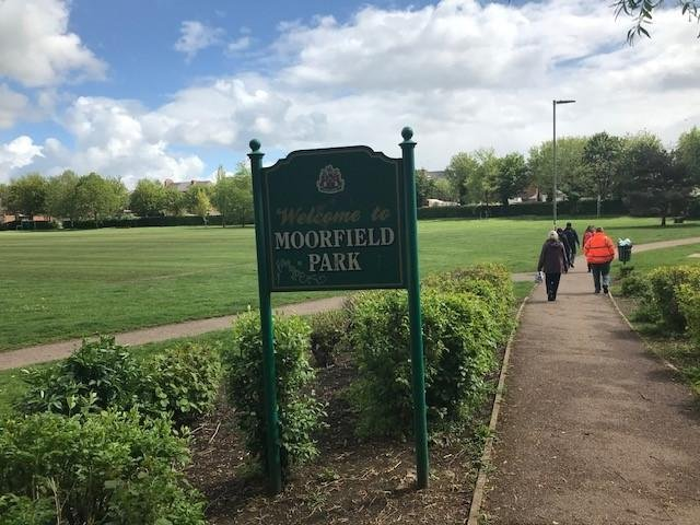 In Grimsbury, the 5K health walk connects St Leonard's School and the Dashwood Academy to Moorfield Park. (Image from Cherwell District Council)