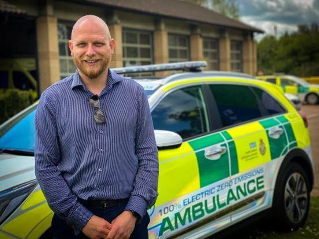 Gregory Edwards, vehicle commissioning unit manager, for South Central Fleet Services with some of the new fully electric emergency response vehicles