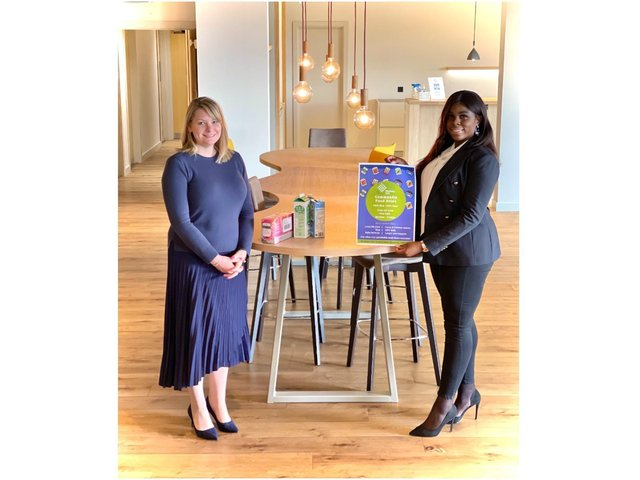 Pictured: Emma McGregor and Noelle Knight with Bloxham Mill Business Centre, who is hosting a food drive