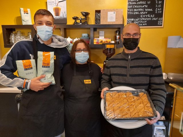 A new family owned cafe - Koukouvagia - serving authentic Greek food has opened in the Banbury town centre (pictured Dimitrios Mertikas his mother, Eleni Mouratidou, and Eleni's brother, Lazaros Mouratidis)