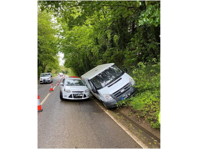 Firefighters from Banbury Fire Station were called to a crash on the A361 between Banbury and Bloxham yesterday morning, Friday May 21. (Image from Oxfordshire Fire and Rescue Service Facebook page)